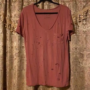 Free People pink holey tee, XL